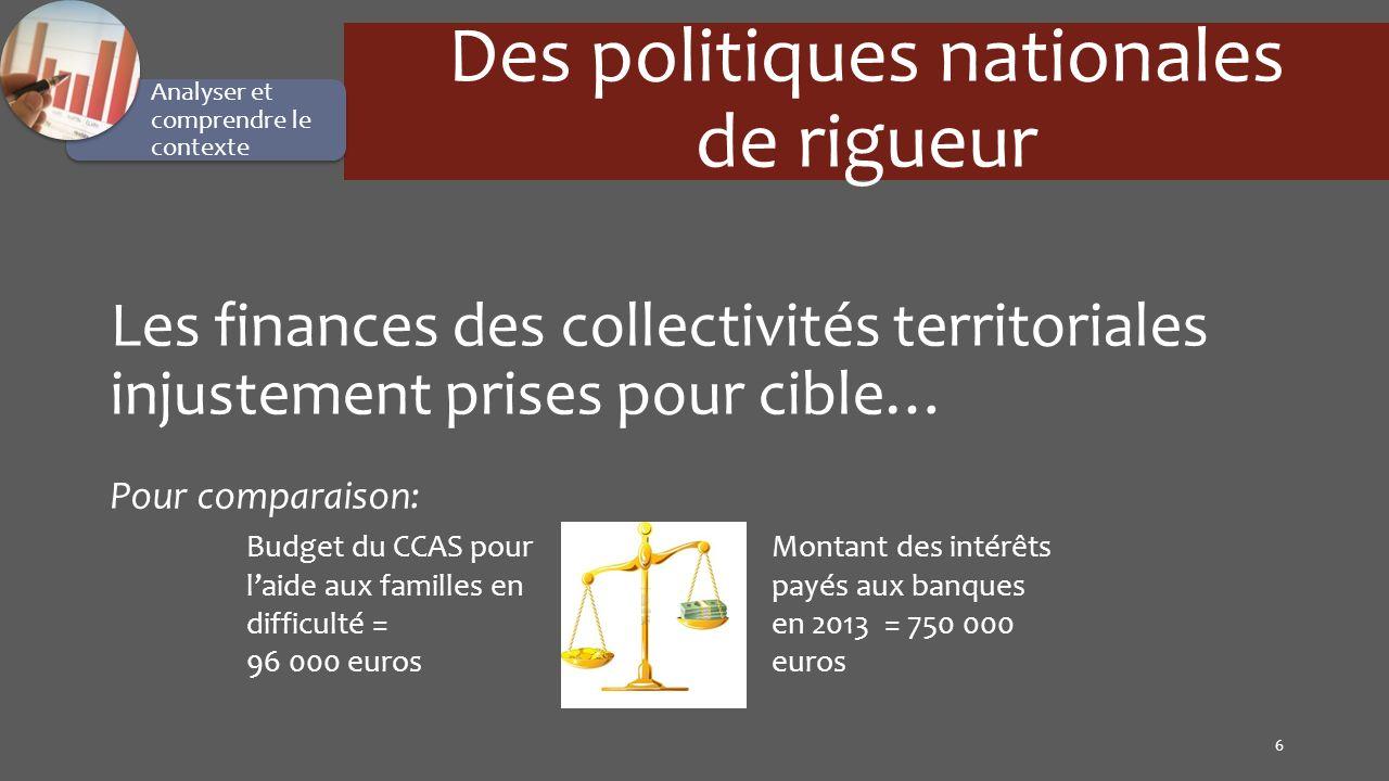 6 Des politiques nationales de rigueur Les finances des collectivités territoriales injustement prises pour cible… Pour comparaison: Analyser et compr