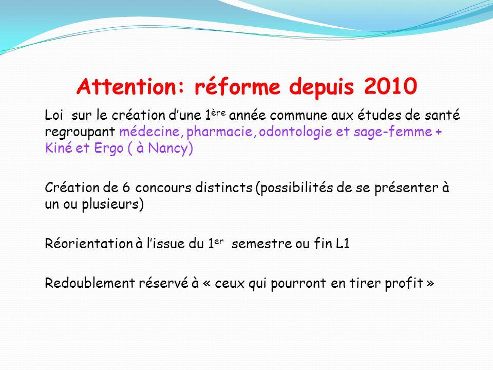 Attention: réforme depuis 2010 Loi sur le création dune 1 ère année commune aux études de santé regroupant médecine, pharmacie, odontologie et sage-fe