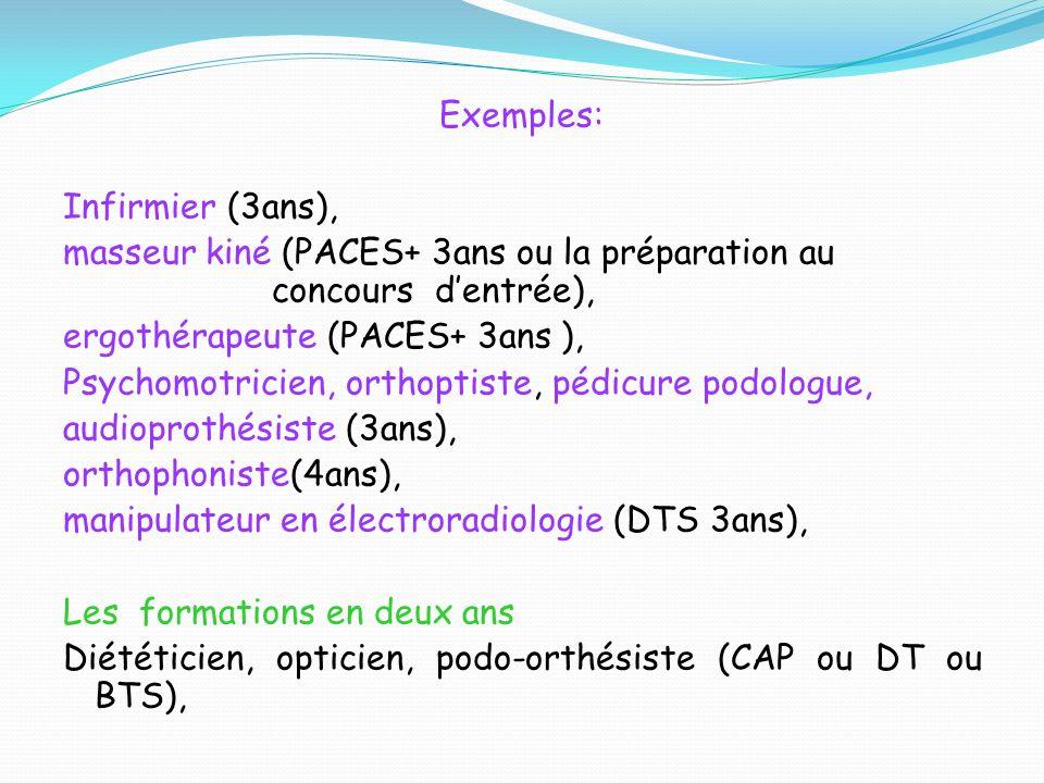 Exemples: Infirmier (3ans), masseur kiné (PACES+ 3ans ou la préparation au concours dentrée), ergothérapeute (PACES+ 3ans ), Psychomotricien, orthopti