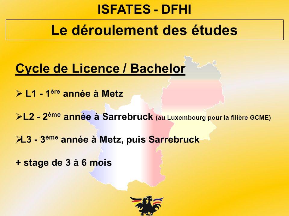 ISFATES - DFHI Cycle de Licence / Bachelor L1 - 1 ère année à Metz L2 - 2 ème année à Sarrebruck (au Luxembourg pour la filière GCME) L3 - 3 ème année