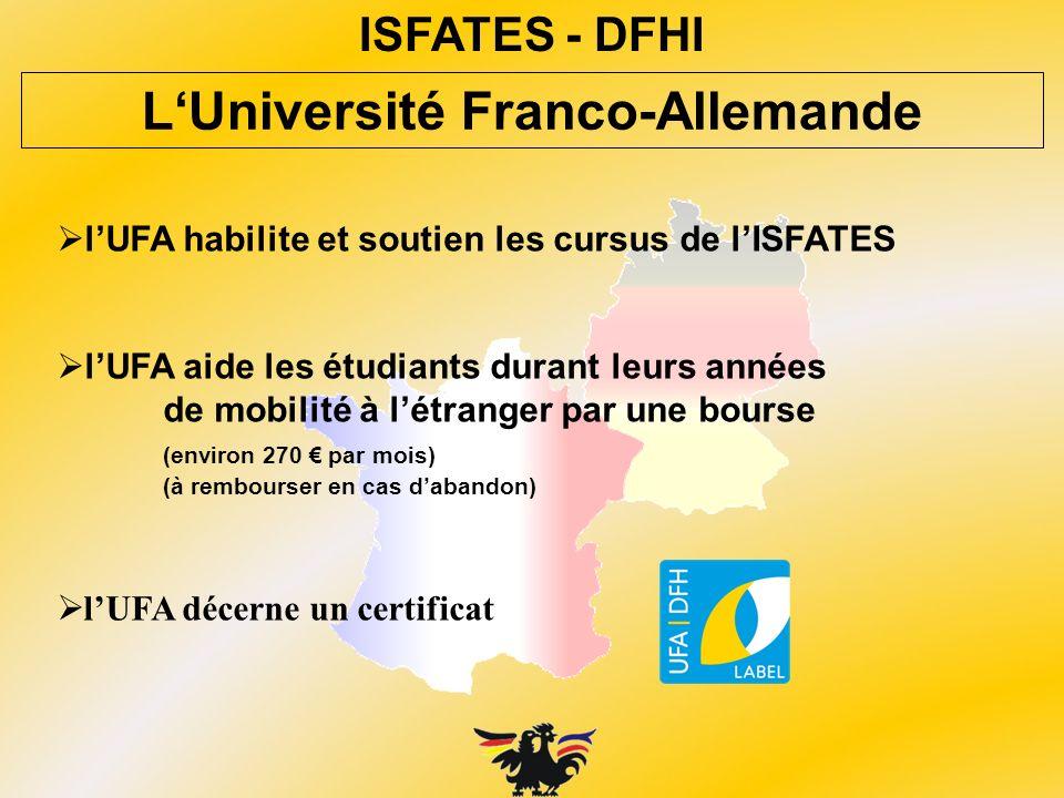 lUFA habilite et soutien les cursus de lISFATES lUFA aide les étudiants durant leurs années de mobilité à létranger par une bourse (environ 270 par mo