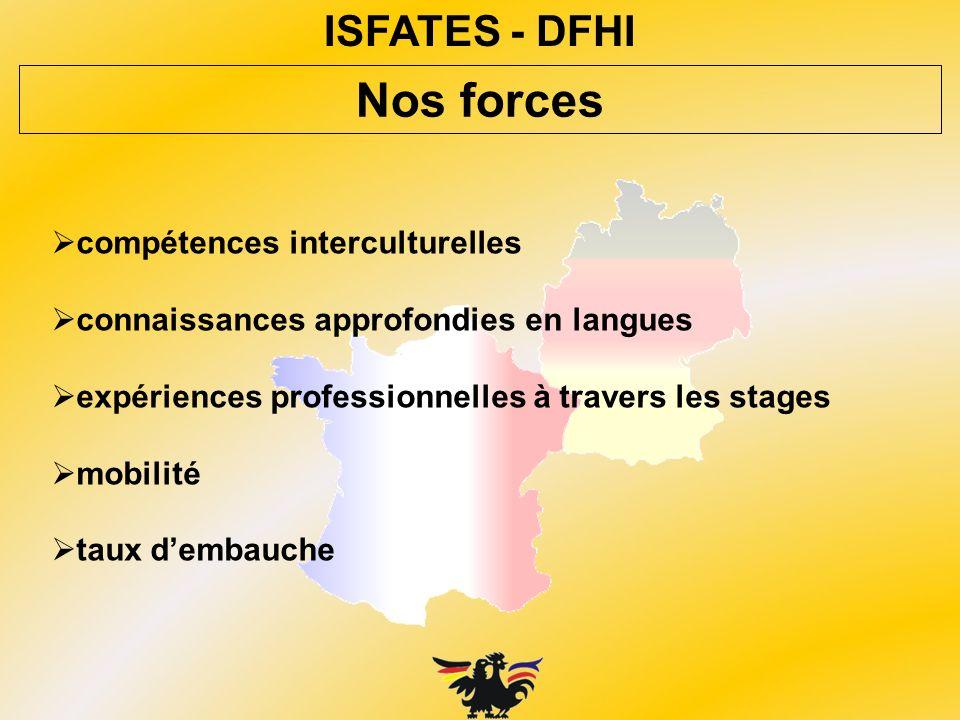 ISFATES - DFHI compétences interculturelles connaissances approfondies en langues expériences professionnelles à travers les stages mobilité taux demb