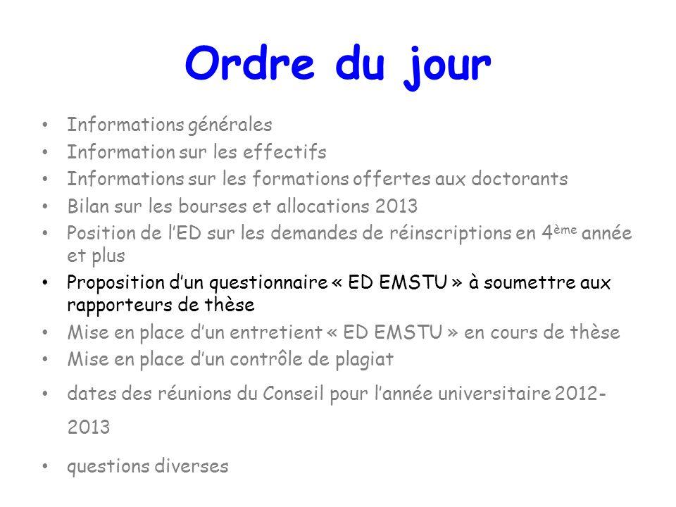 Informations générales Information sur les effectifs Informations sur les formations offertes aux doctorants Bilan sur les bourses et allocations 2013