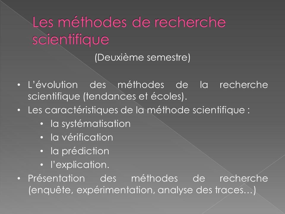 (Deuxième semestre) Lévolution des méthodes de la recherche scientifique (tendances et écoles).