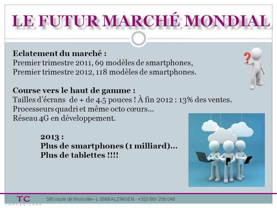 Eclatement du marché : Premier trimestre 2011, 69 modèles de smartphones, Premier trimestre 2012, 118 modèles de smartphones. Course vers le haut de g