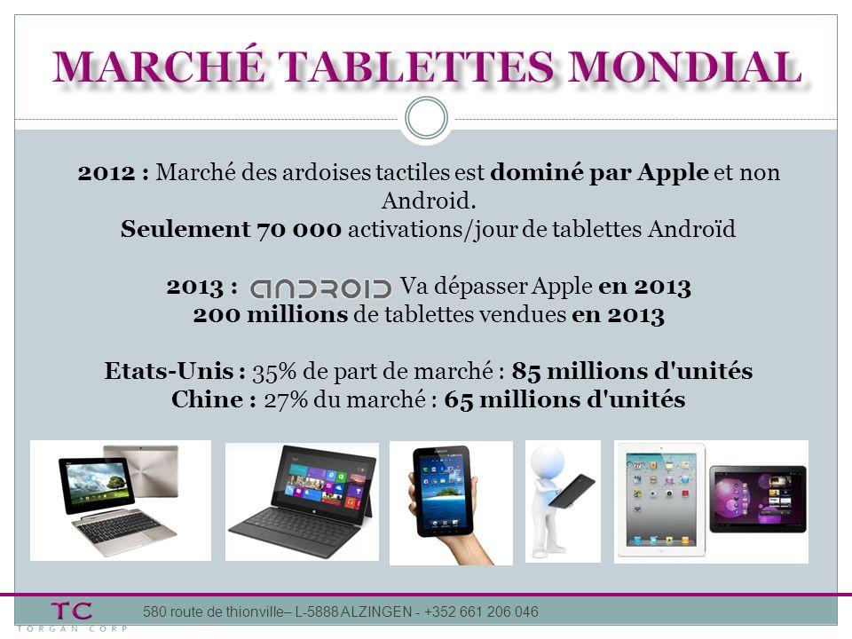 580 route de thionville– L-5888 ALZINGEN - +352 661 206 046 2012 : Marché des ardoises tactiles est dominé par Apple et non Android. Seulement 70 000