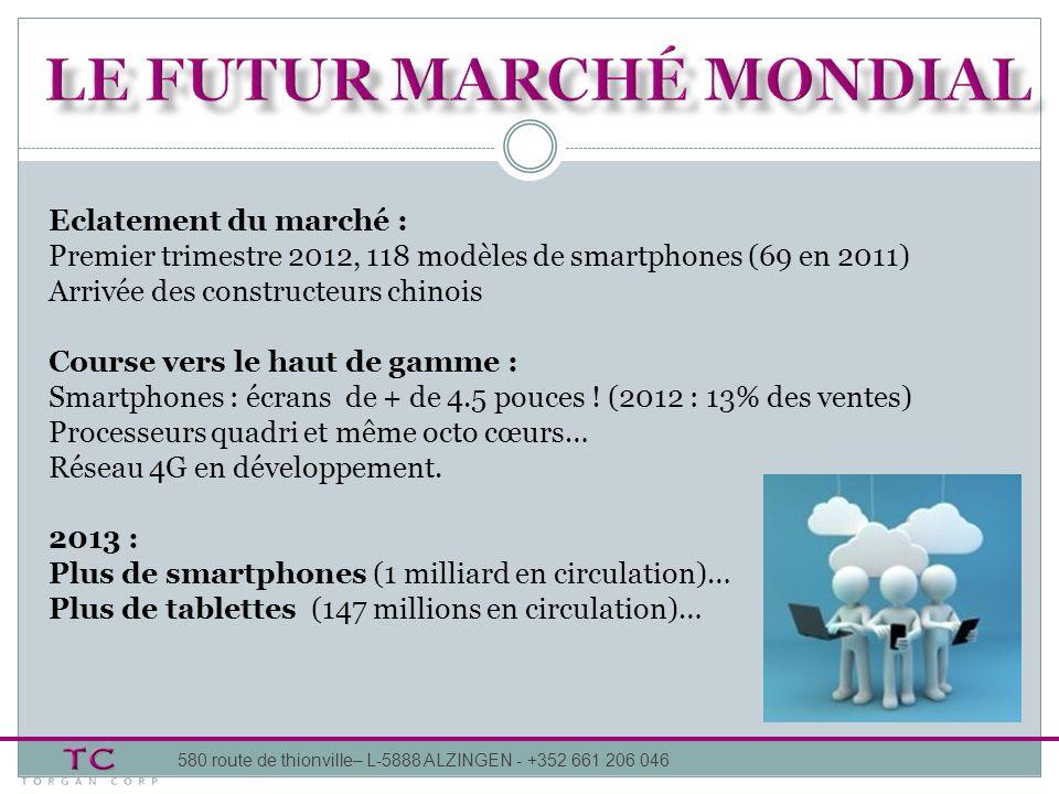 Eclatement du marché : Premier trimestre 2012, 118 modèles de smartphones (69 en 2011) Arrivée des constructeurs chinois Course vers le haut de gamme