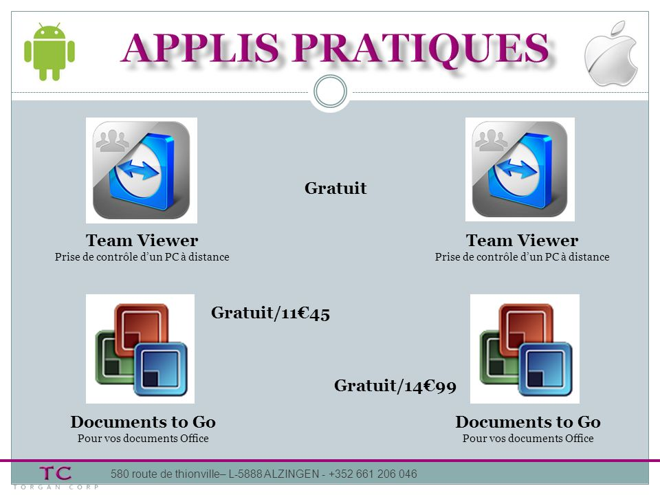 Team Viewer Prise de contrôle dun PC à distance Team Viewer Prise de contrôle dun PC à distance Documents to Go Pour vos documents Office Gratuit Grat