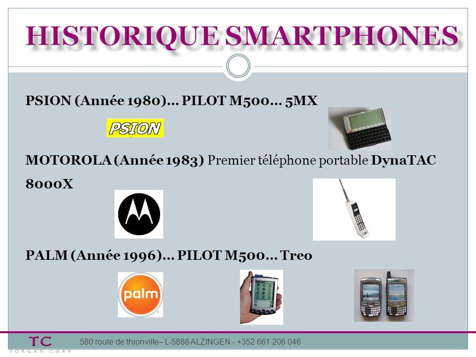 580 route de thionville– L-5888 ALZINGEN - +352 661 206 046 PSION (Année 1980)… PILOT M500… 5MX MOTOROLA (Année 1983) Premier téléphone portable DynaT