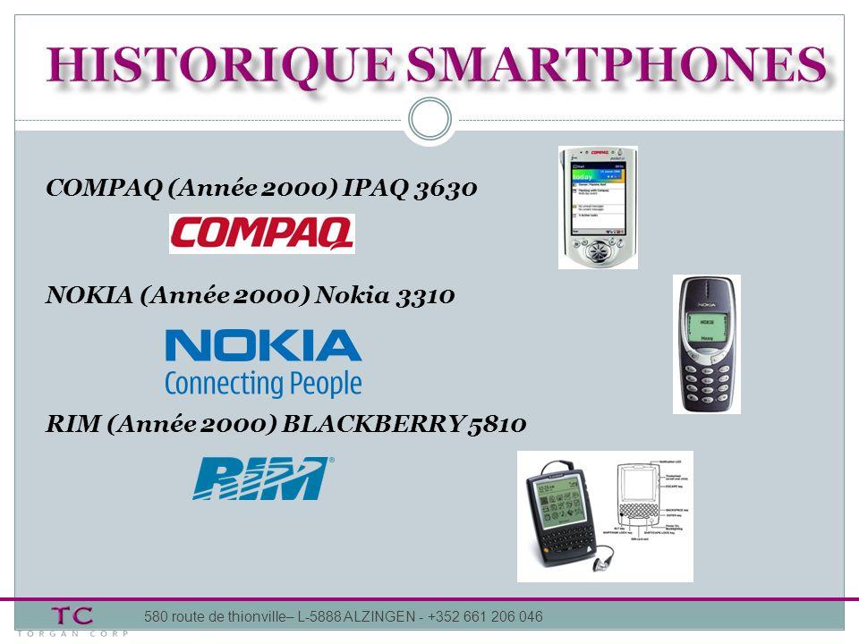 580 route de thionville– L-5888 ALZINGEN - +352 661 206 046 COMPAQ (Année 2000) IPAQ 3630 NOKIA (Année 2000) Nokia 3310 RIM (Année 2000) BLACKBERRY 58
