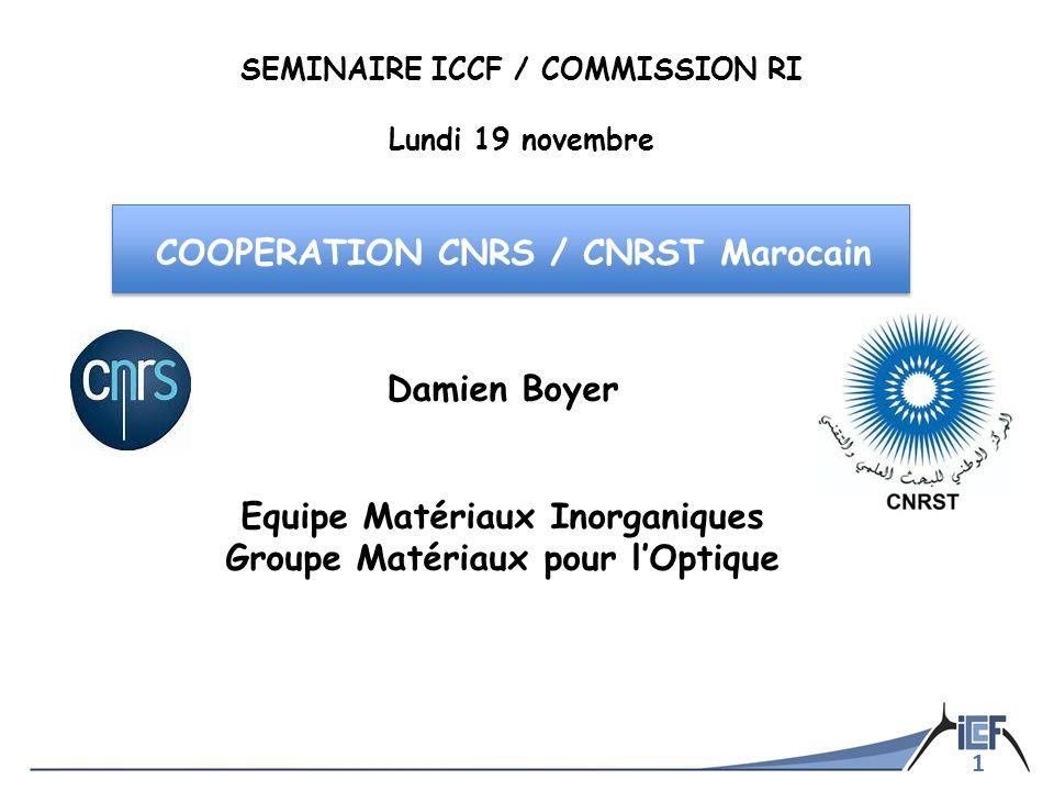 1 Damien Boyer Equipe Matériaux Inorganiques Groupe Matériaux pour lOptique SEMINAIRE ICCF / COMMISSION RI Lundi 19 novembre COOPERATION CNRS / CNRST