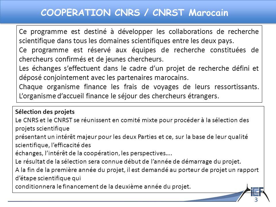 3 COOPERATION CNRS / CNRST Marocain Ce programme est destiné à développer les collaborations de recherche scientifique dans tous les domaines scientif