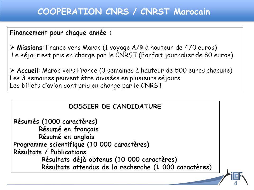 4 COOPERATION CNRS / CNRST Marocain DOSSIER DE CANDIDATURE Résumés (1000 caractères) Résumé en français Résumé en anglais Programme scientifique (10 0