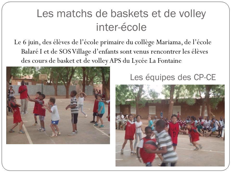 Les matchs de baskets et de volley inter-école Le 6 juin, des élèves de lécole primaire du collège Mariama, de lécole Balaré I et de SOS Village denfants sont venus rencontrer les élèves des cours de basket et de volley APS du Lycée La Fontaine Les équipes des CP-CE