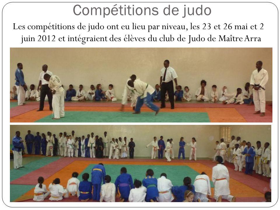 Compétitions de judo Les compétitions de judo ont eu lieu par niveau, les 23 et 26 mai et 2 juin 2012 et intégraient des élèves du club de Judo de Maître Arra