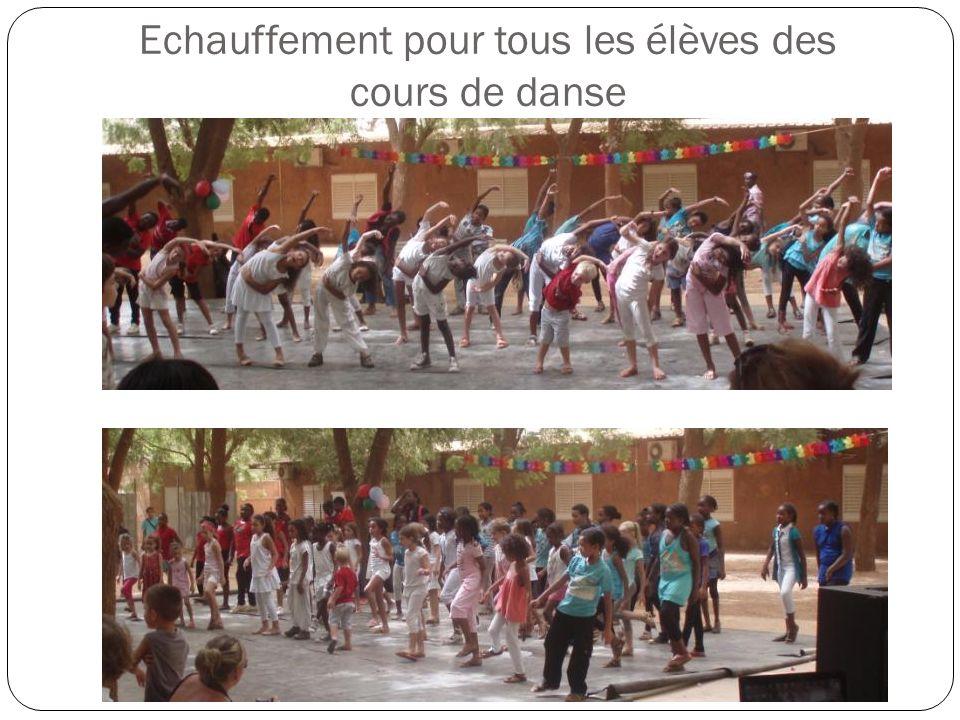 Echauffement pour tous les élèves des cours de danse