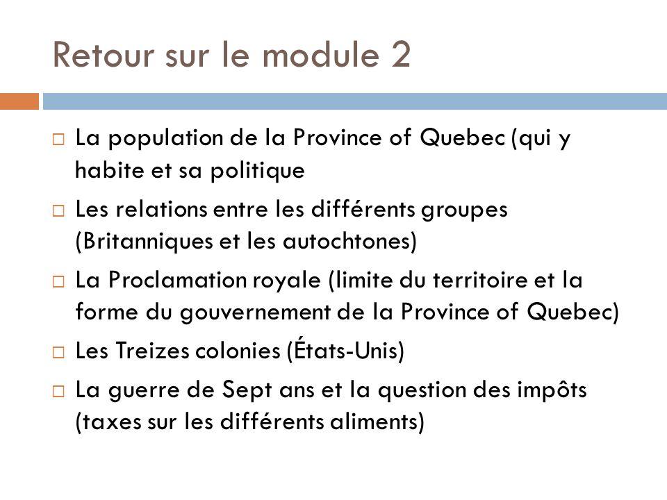 Retour sur le module 2 La population de la Province of Quebec (qui y habite et sa politique Les relations entre les différents groupes (Britanniques e