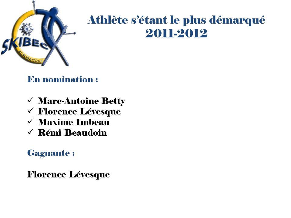 Athlète sétant le plus démarqué 2011-2012 En nomination : Marc-Antoine Betty Florence Lévesque Maxime Imbeau Rémi Beaudoin Gagnante : Florence Lévesqu