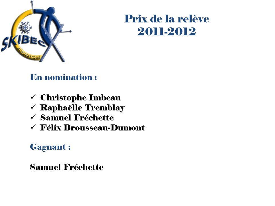Prix de la relève 2011-2012 En nomination : Christophe Imbeau Raphaëlle Tremblay Samuel Fréchette Félix Brousseau-Dumont Gagnant : Samuel Fréchette