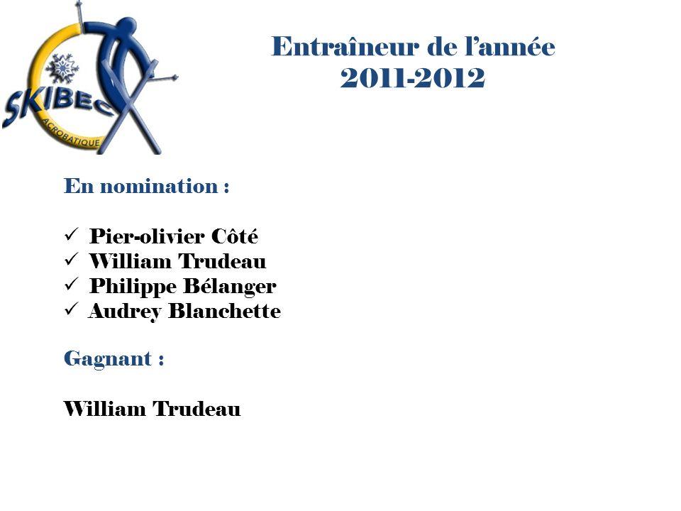 Entraîneur de lannée 2011-2012 En nomination : Pier-olivier Côté William Trudeau Philippe Bélanger Audrey Blanchette Gagnant : William Trudeau