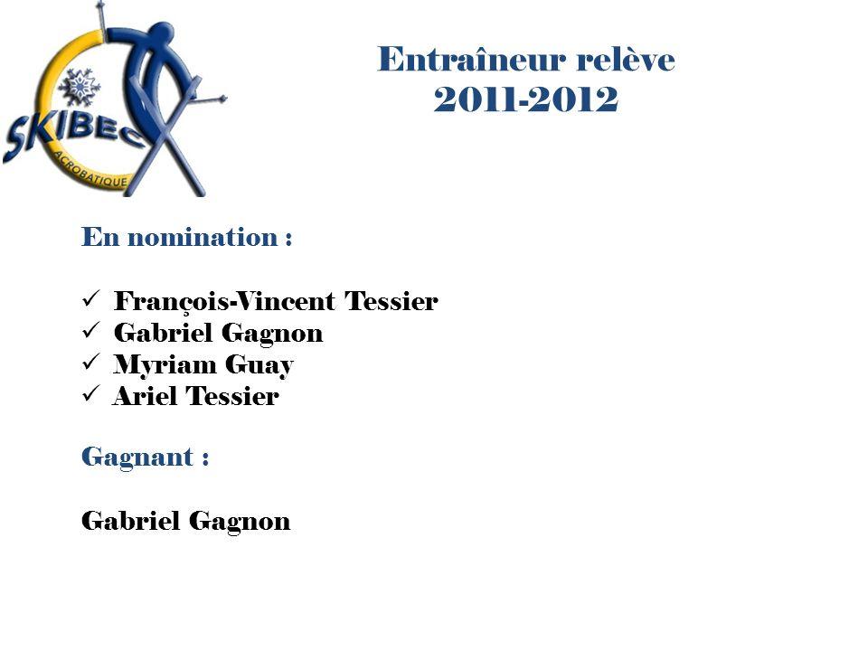 Entraîneur relève 2011-2012 En nomination : François-Vincent Tessier Gabriel Gagnon Myriam Guay Ariel Tessier Gagnant : Gabriel Gagnon