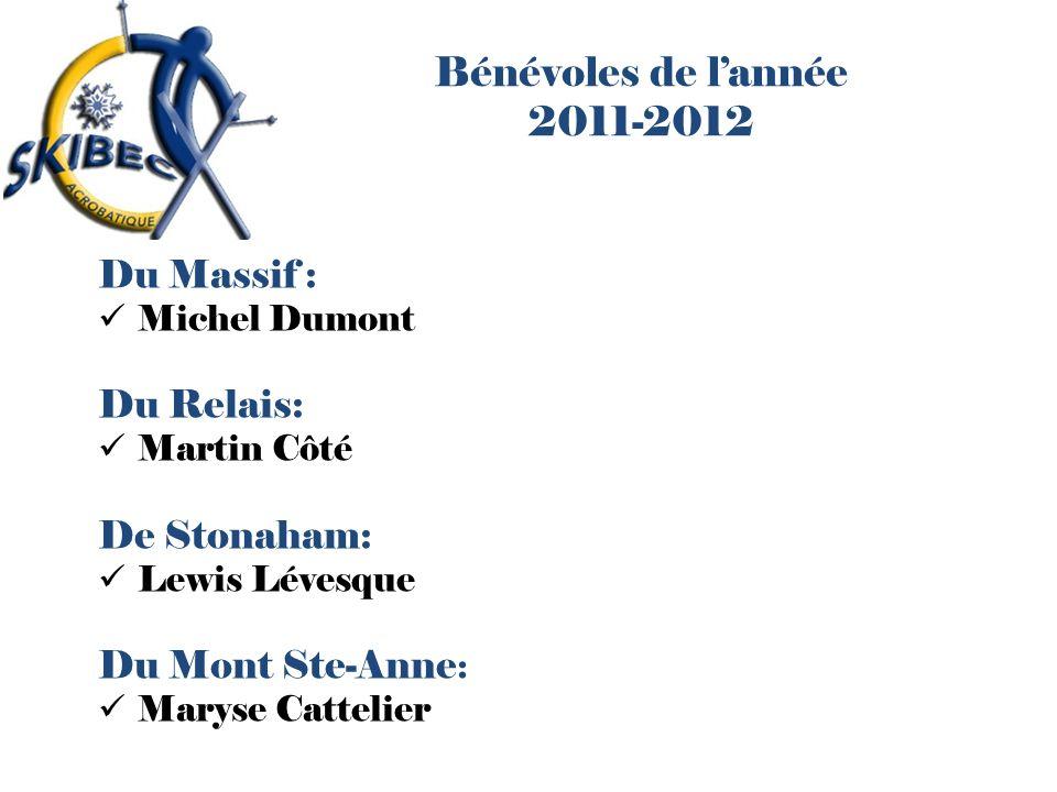 Bénévoles de lannée 2011-2012 Du Massif : Michel Dumont Du Relais: Martin Côté De Stonaham: Lewis Lévesque Du Mont Ste-Anne : Maryse Cattelier