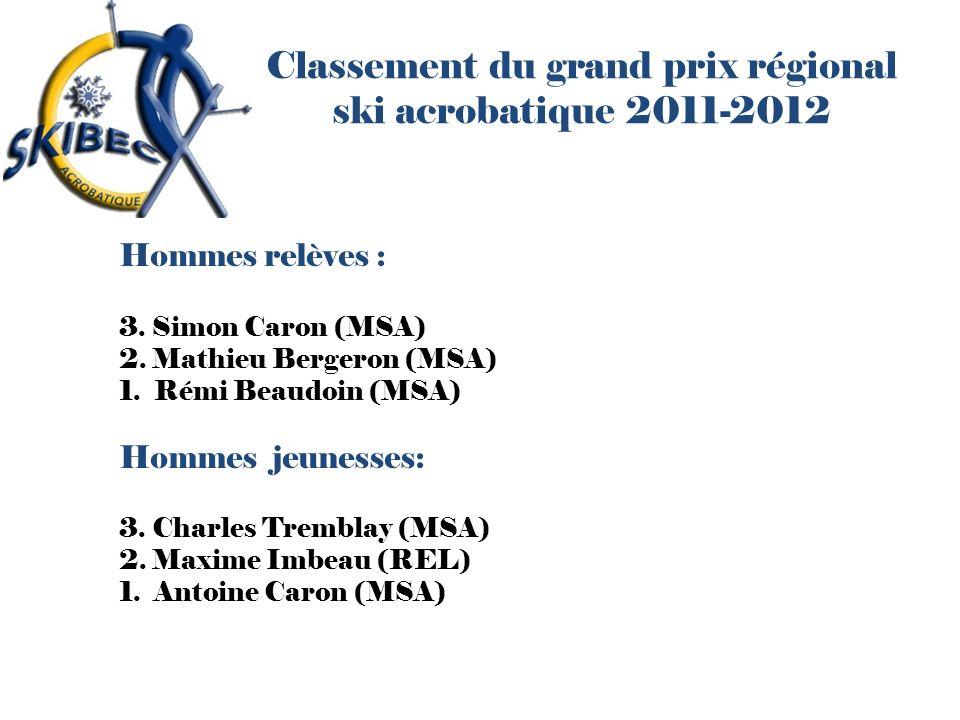 Classement du grand prix régional ski acrobatique 2011-2012 Hommes relèves : 3. Simon Caron (MSA) 2. Mathieu Bergeron (MSA) 1. Rémi Beaudoin (MSA) Hom