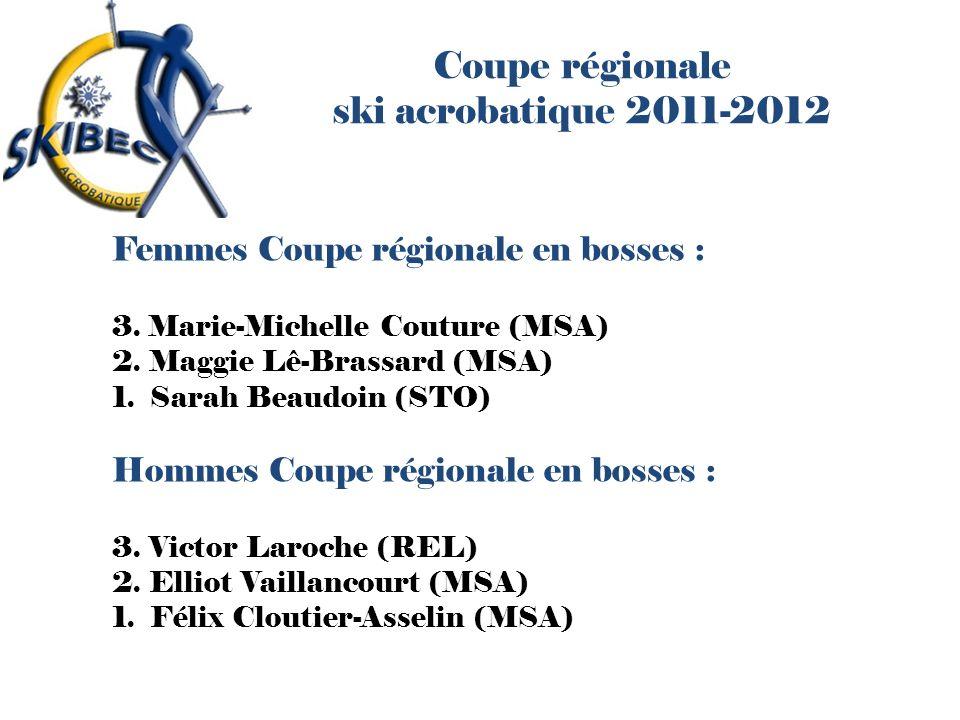 Coupe régionale ski acrobatique 2011-2012 Femmes Coupe régionale en bosses : 3. Marie-Michelle Couture (MSA) 2. Maggie Lê-Brassard (MSA) 1. Sarah Beau
