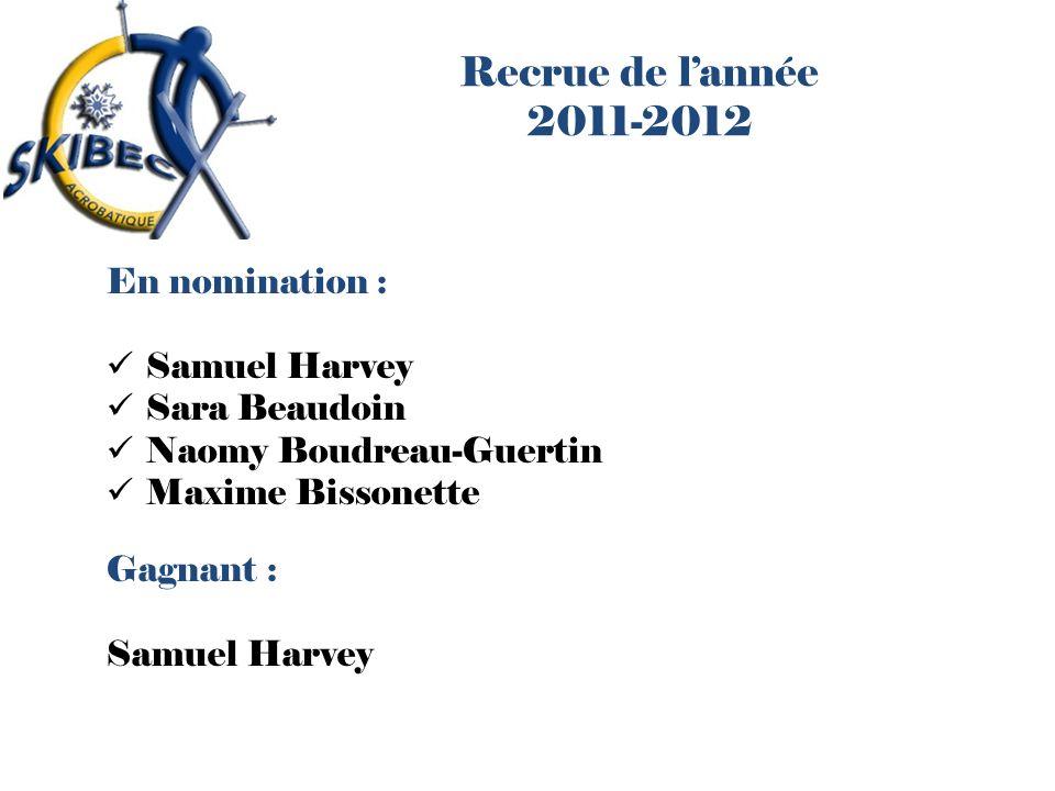 Recrue de lannée 2011-2012 En nomination : Samuel Harvey Sara Beaudoin Naomy Boudreau-Guertin Maxime Bissonette Gagnant : Samuel Harvey
