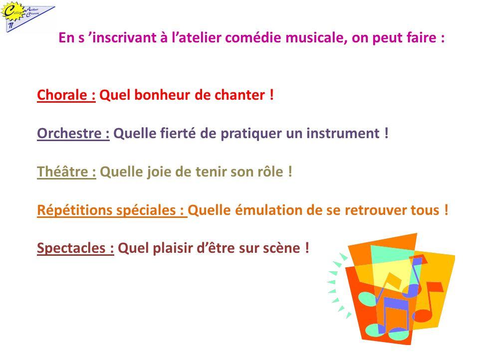 En s inscrivant à latelier comédie musicale, on peut faire : Chorale : Quel bonheur de chanter ! Orchestre : Quelle fierté de pratiquer un instrument