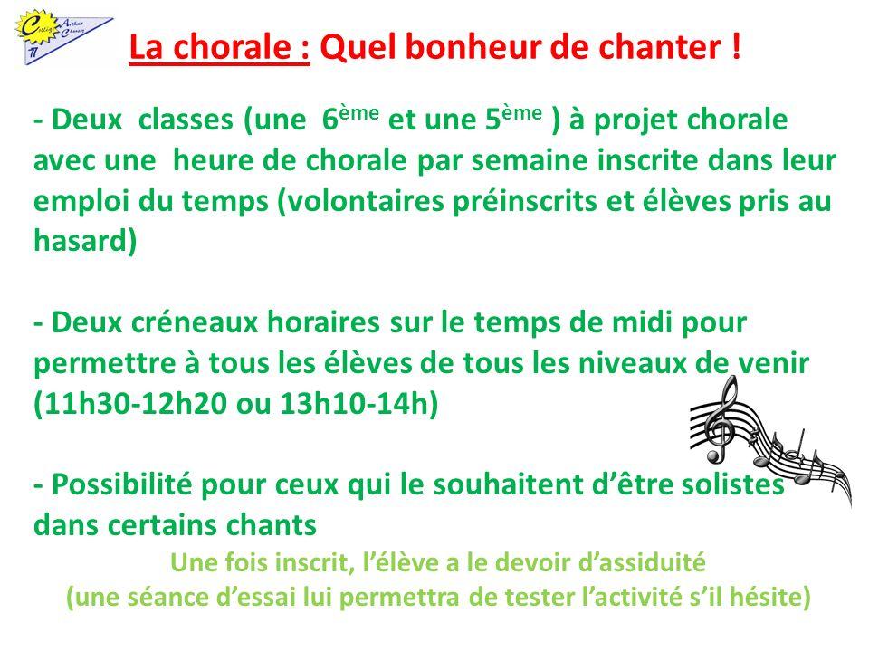 La chorale : Quel bonheur de chanter ! - Deux classes (une 6 ème et une 5 ème ) à projet chorale avec une heure de chorale par semaine inscrite dans l