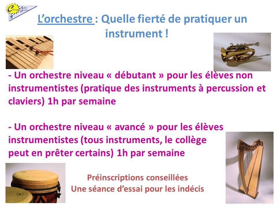 - Un orchestre niveau « débutant » pour les élèves non instrumentistes (pratique des instruments à percussion et claviers) 1h par semaine - Un orchest