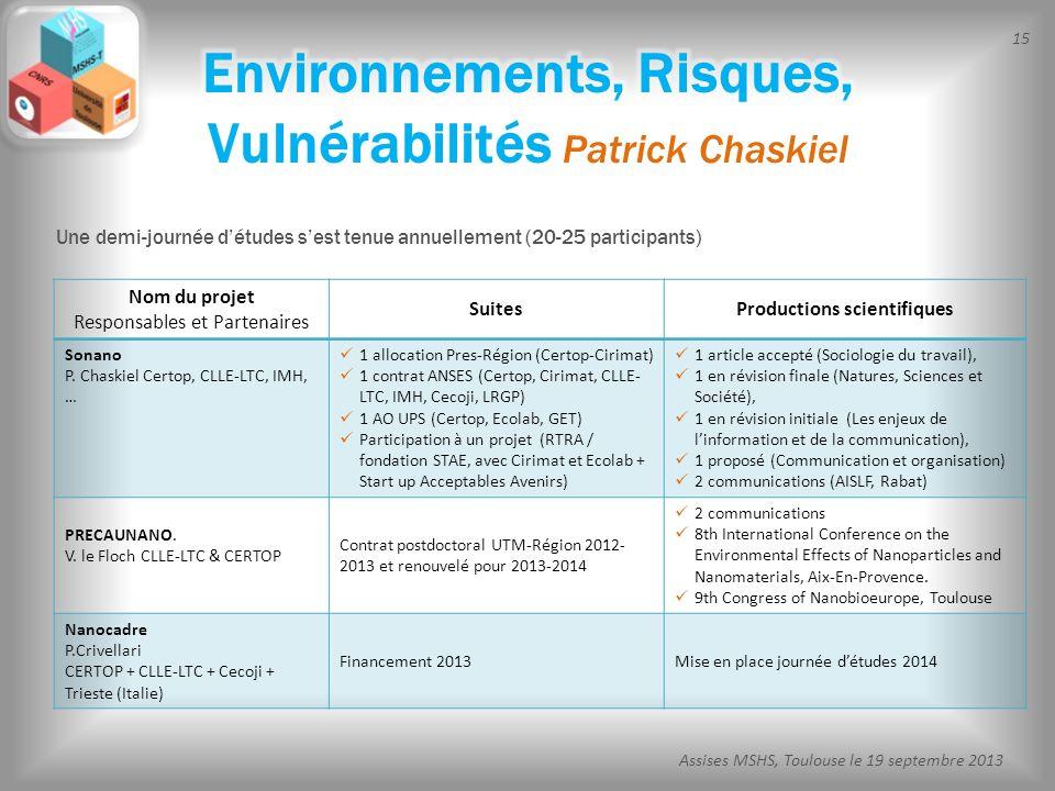 15 Assises MSHS, Toulouse le 19 septembre 2013 Nom du projet Responsables et Partenaires SuitesProductions scientifiques Sonano P. Chaskiel Certop, CL
