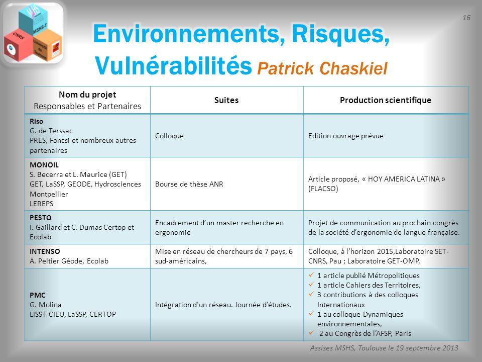 16 Assises MSHS, Toulouse le 19 septembre 2013 Nom du projet Responsables et Partenaires SuitesProduction scientifique Riso G. de Terssac PRES, Foncsi