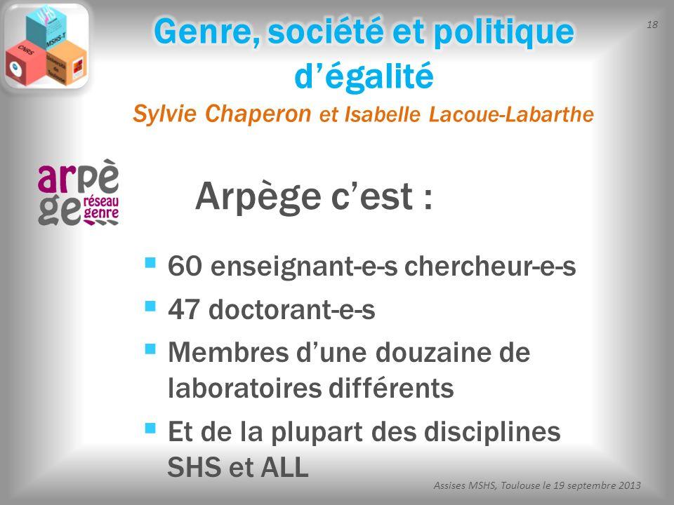 18 Assises MSHS, Toulouse le 19 septembre 2013 Arpège cest : 60 enseignant-e-s chercheur-e-s 47 doctorant-e-s Membres dune douzaine de laboratoires di