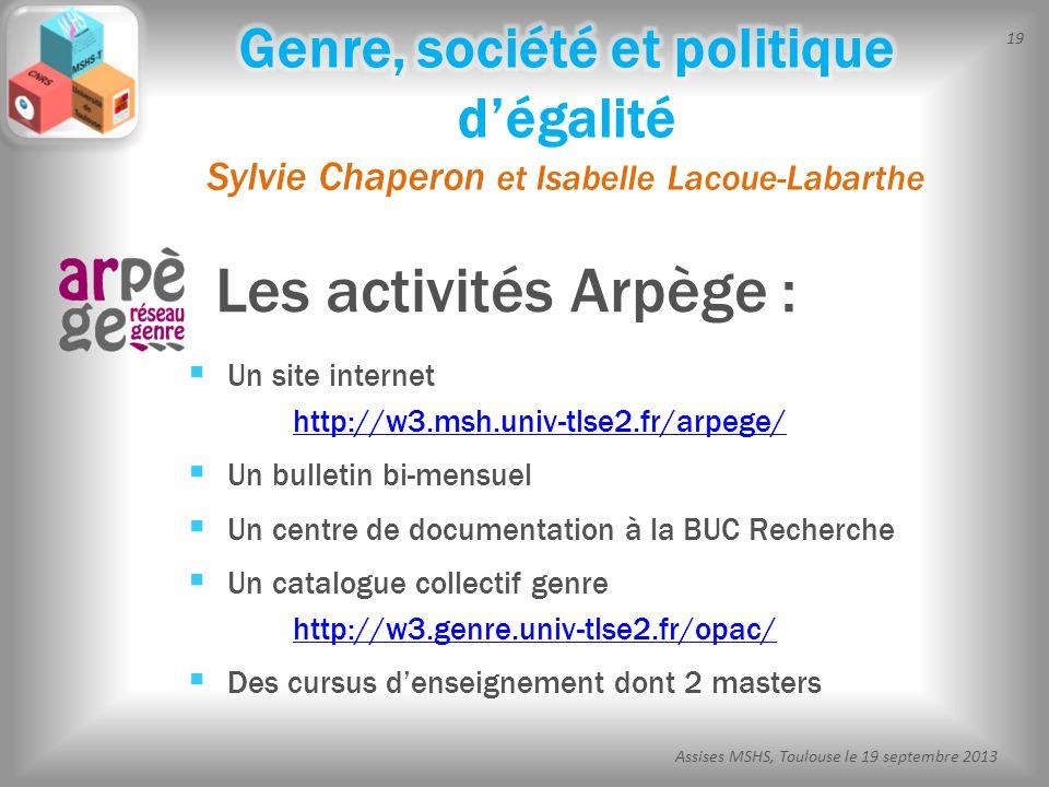 19 Assises MSHS, Toulouse le 19 septembre 2013 Les activités Arpège : Un site internet http://w3.msh.univ-tlse2.fr/arpege/ http://w3.msh.univ-tlse2.fr