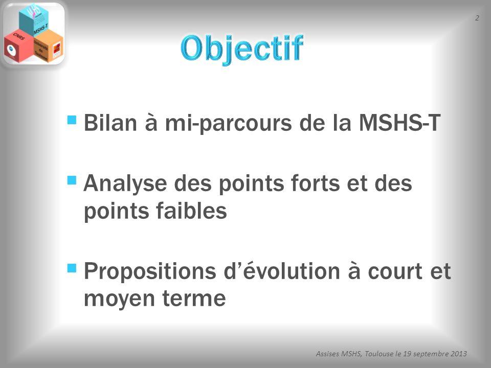 2 Assises MSHS, Toulouse le 19 septembre 2013 Bilan à mi-parcours de la MSHS-T Analyse des points forts et des points faibles Propositions dévolution