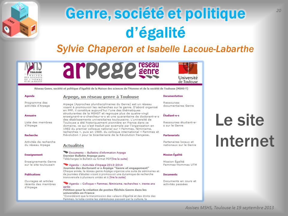 20 Assises MSHS, Toulouse le 19 septembre 2013 Le site Internet