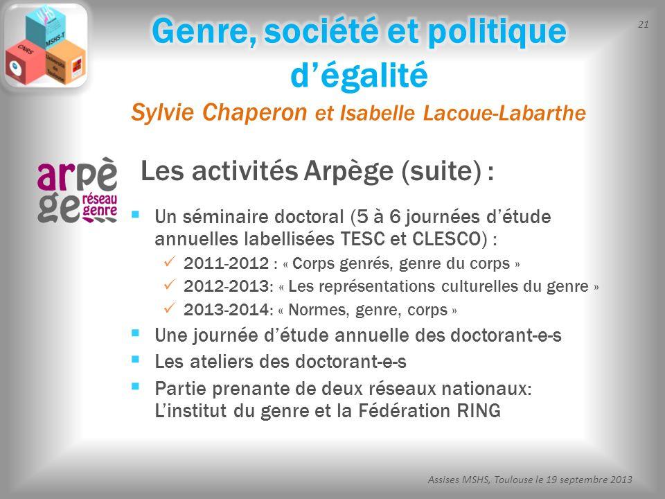 21 Assises MSHS, Toulouse le 19 septembre 2013 Les activités Arpège (suite) : Un séminaire doctoral (5 à 6 journées détude annuelles labellisées TESC