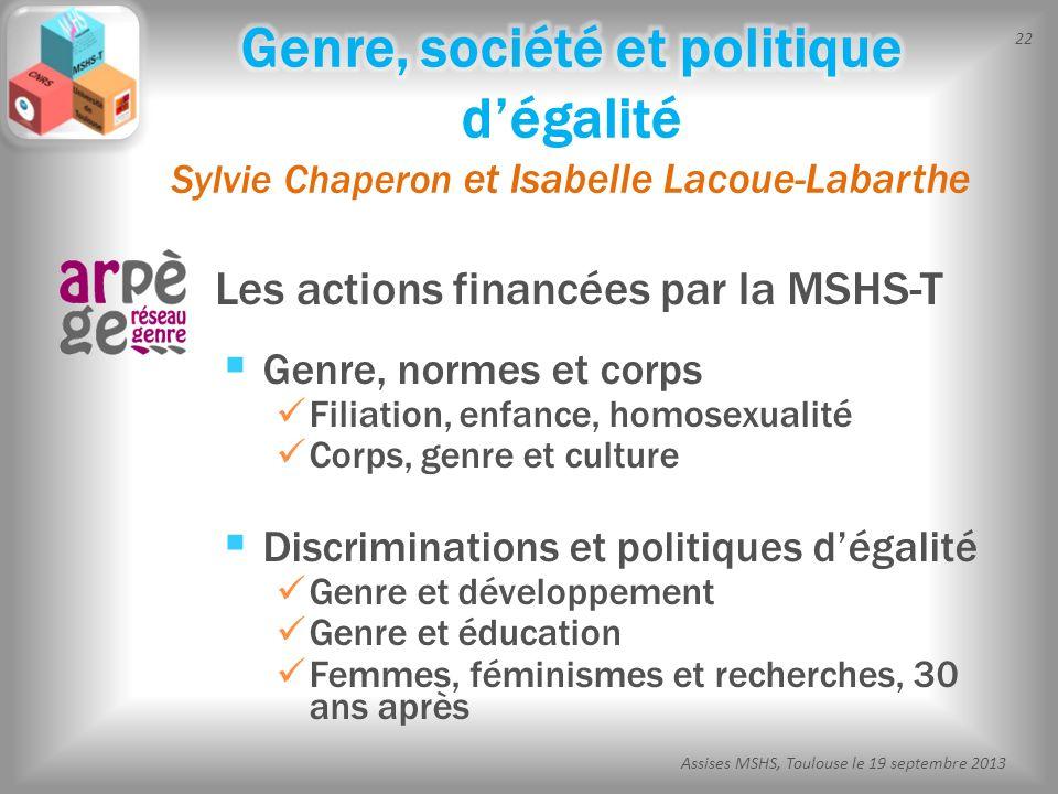 22 Assises MSHS, Toulouse le 19 septembre 2013 Les actions financées par la MSHS-T Genre, normes et corps Filiation, enfance, homosexualité Corps, gen