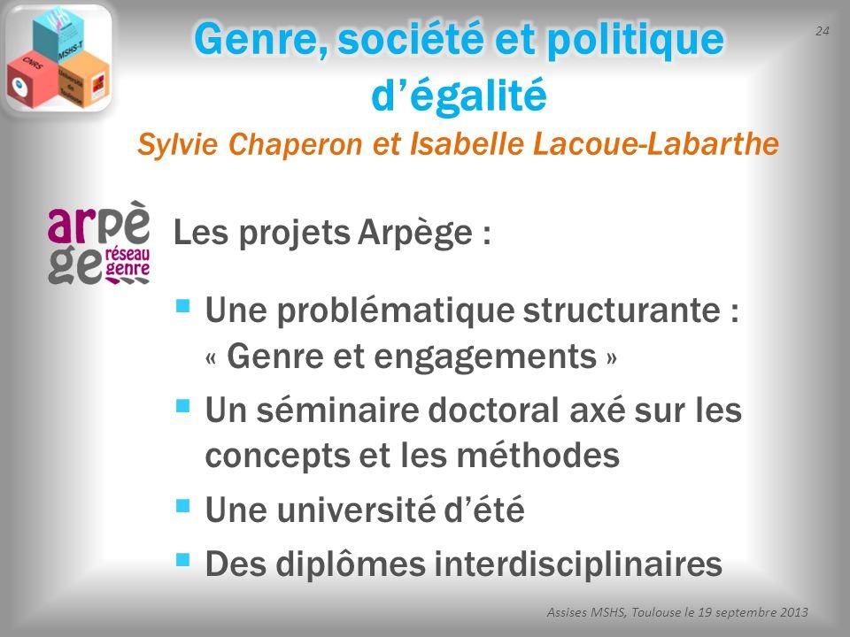 24 Assises MSHS, Toulouse le 19 septembre 2013 Les projets Arpège : Une problématique structurante : « Genre et engagements » Un séminaire doctoral ax