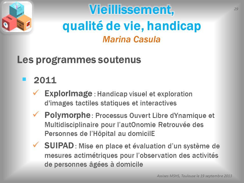 29 Assises MSHS, Toulouse le 19 septembre 2013 2011 ExplorImage : Handicap visuel et exploration d'images tactiles statiques et interactives Polymorph