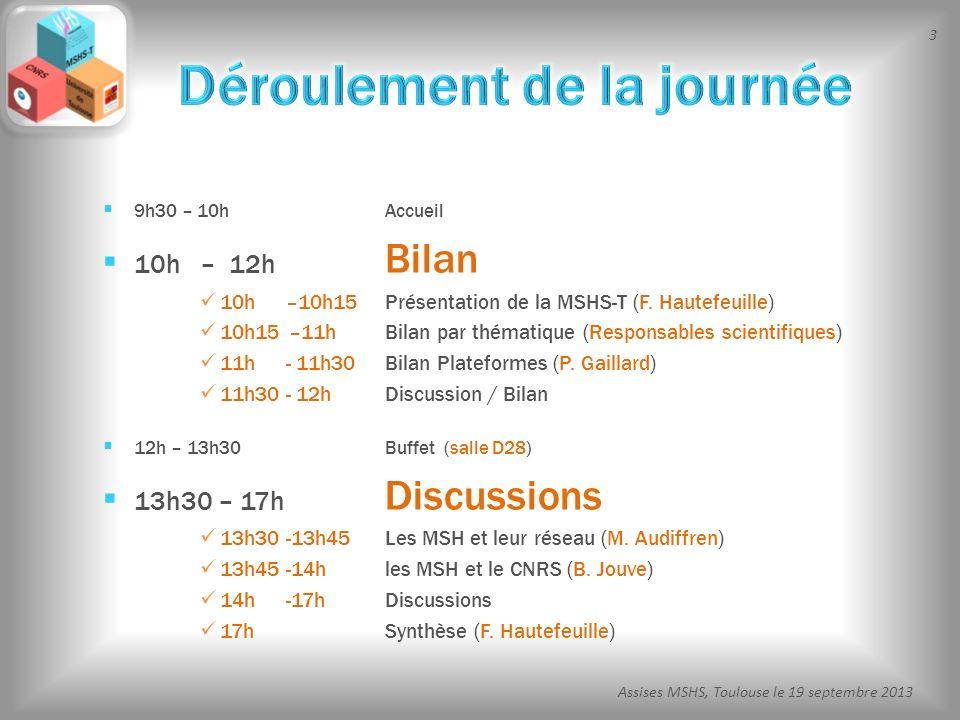 3 Assises MSHS, Toulouse le 19 septembre 2013 9h30 – 10hAccueil 10h – 12h Bilan 10h –10h15 Présentation de la MSHS-T (F. Hautefeuille) 10h15 –11h Bila