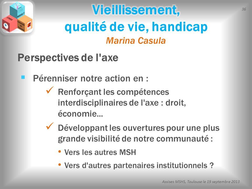36 Assises MSHS, Toulouse le 19 septembre 2013 Pérenniser notre action en : Renforçant les compétences interdisciplinaires de l'axe : droit, économie.