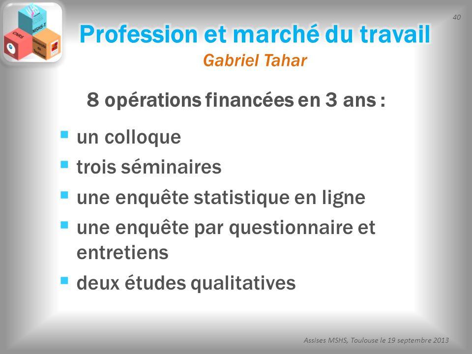40 Assises MSHS, Toulouse le 19 septembre 2013 8 opérations financées en 3 ans : un colloque trois séminaires une enquête statistique en ligne une enq