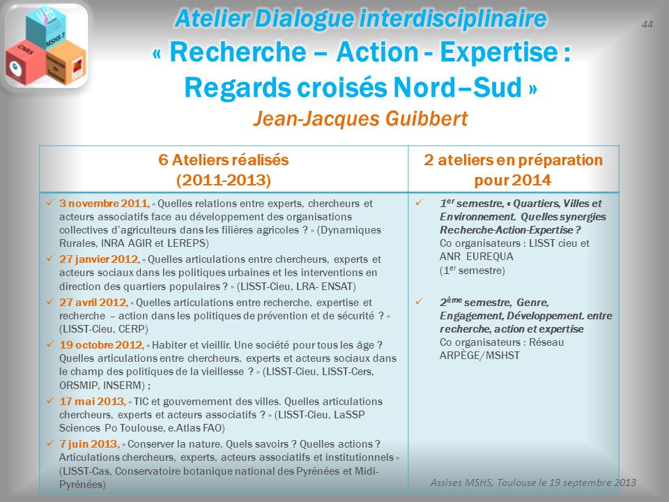 44 Assises MSHS, Toulouse le 19 septembre 2013 6 Ateliers réalisés (2011-2013) 2 ateliers en préparation pour 2014 3 novembre 2011, « Quelles relation