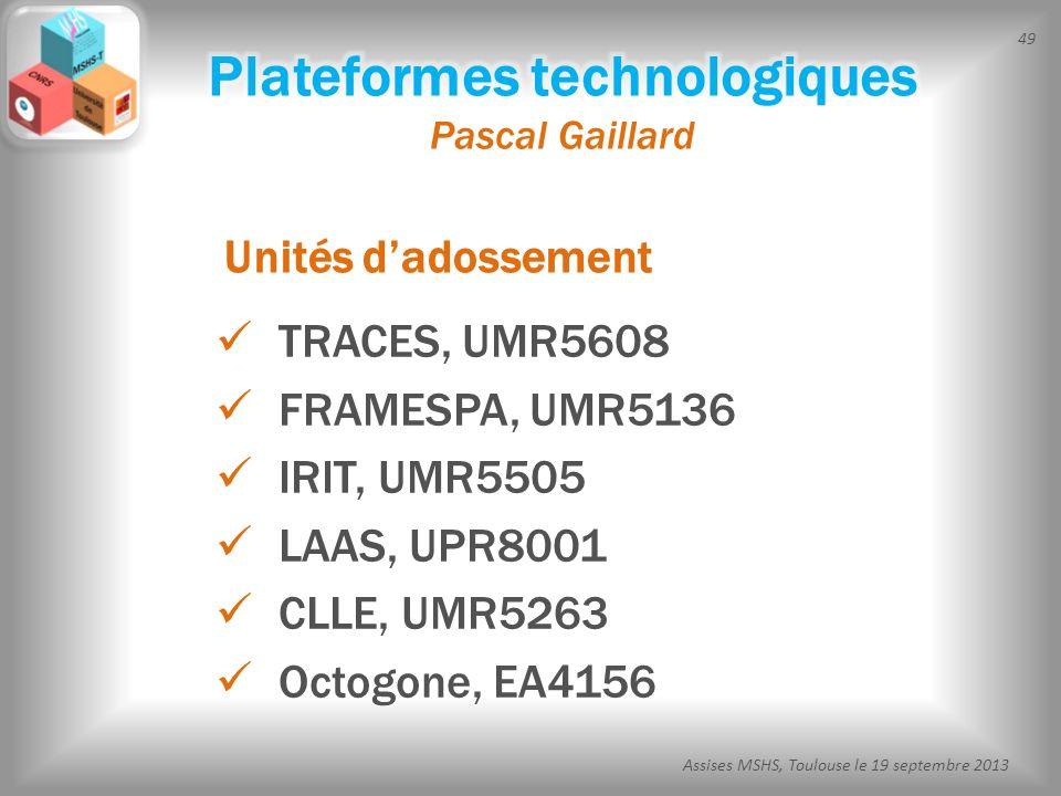 49 Assises MSHS, Toulouse le 19 septembre 2013 TRACES, UMR5608 FRAMESPA, UMR5136 IRIT, UMR5505 LAAS, UPR8001 CLLE, UMR5263 Octogone, EA4156 Unités dad