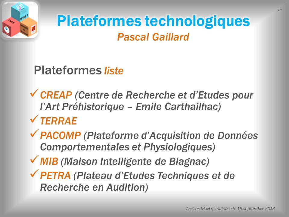 51 Assises MSHS, Toulouse le 19 septembre 2013 CREAP (Centre de Recherche et dEtudes pour lArt Préhistorique – Emile Carthailhac) TERRAE PACOMP (Plate