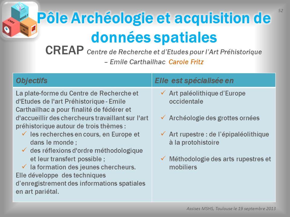 52 Assises MSHS, Toulouse le 19 septembre 2013 CREAP Centre de Recherche et dEtudes pour lArt Préhistorique – Emile Carthailhac Carole Fritz Objectifs