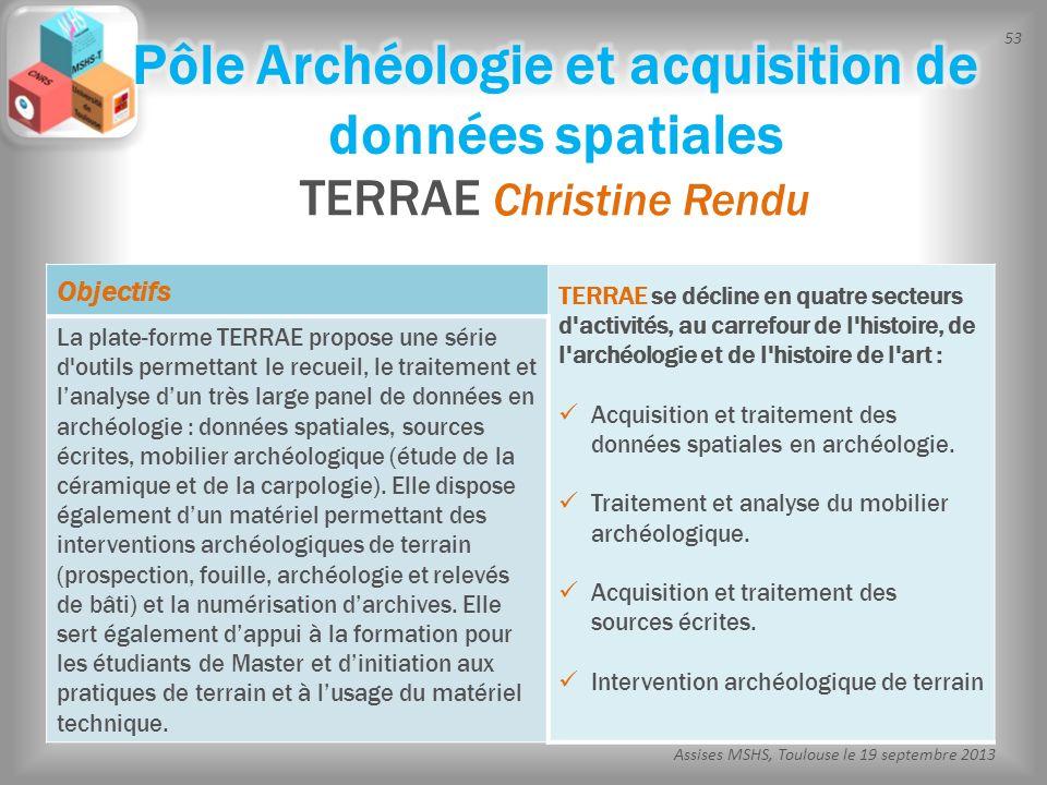53 Assises MSHS, Toulouse le 19 septembre 2013 TERRAE Christine Rendu Objectifs TERRAE se décline en quatre secteurs d'activités, au carrefour de l'hi